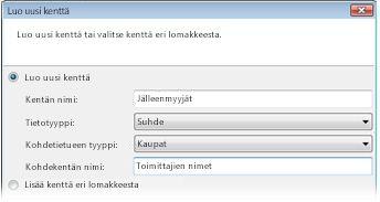 Uuden Suhde-kentän luominen Luo uusi kenttä -valintaikkunassa.