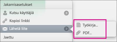Lähetä laskentataulukko Excel-työkirjana tai PDF-tiedostona