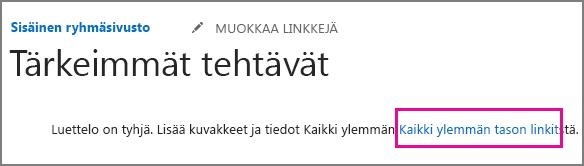 Kuva Ylennetyt linkit -sovelluksesta.