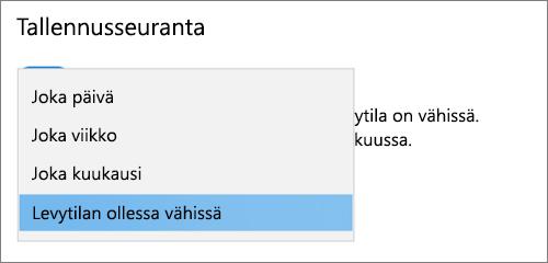 Windows 10-tallennus tilan avattava valikko taajuuden tallennus tilan seuranta toiminnon valitseminen