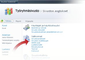 Sivuston sisältötyyppien valitseminen Sivuston asetukset -ikkunassa