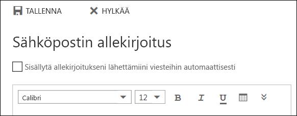 Outlookin verkkoversio, sähköpostin allekirjoitusviesti