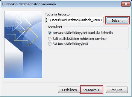 Tallennuskohde ja tiedostonimi näkyvät Tuotava tiedosto -ruudussa.