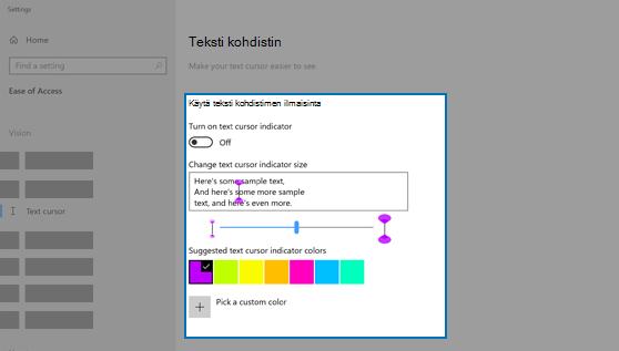 Tekstin kohdistimen ilmaisimen asetukset, mukaan lukien koko ja väri