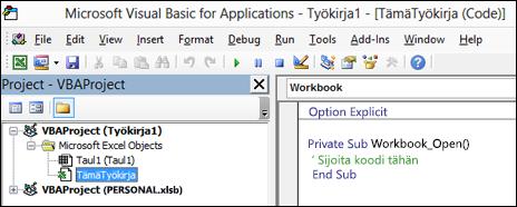 Tämätyökirja-moduulin Visual Basic Editor (VBE)