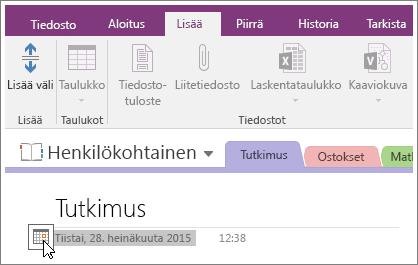 Sivun päivämääräleiman muuttaminen OneNote 2016:ssa