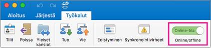 Offline-tilaan/Online-säädin Työkalut-välilehti