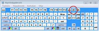 Windowsin näyttönäppäimistö, jossa Scroll Lock -näppäin