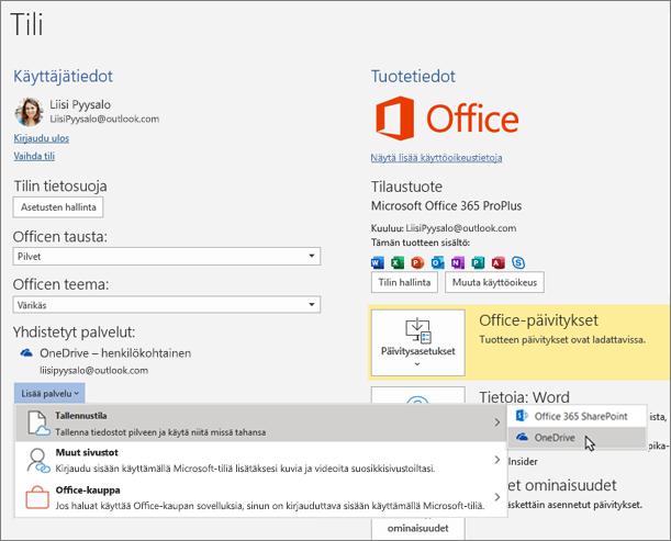 """Office-sovellusten Tili-ruutu, jossa korostetaan OneDrive-tallennusvalintaa """"Lisää palvelu"""" -vaihtoehdolle Yhdistetyt palvelut -osiossa"""