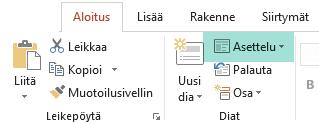 PowerPointin Aloitus-välilehden Asettelu-painikkeessa on kaikki käytettävissä olevat dia-asettelut.
