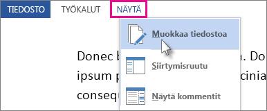 Kuva lukutilan Näkymä-valikko-osasta, jonka Muokkaa asiakirjaa -asetus on valittuna.