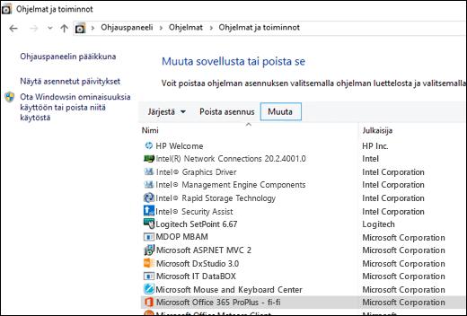 Aloita Microsoft Officen korjausprosessi valitsemalla Poista ohjelmien asennuksia -sovelmassa Muuta