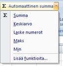 Automaattinen summa -kohdan Laske numerot -toiminnon käyttäminen