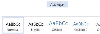 Uudelleennimeäminen Office Onlinessa