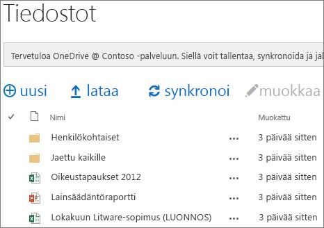 Katso OneDrive for Business -asiakirjat
