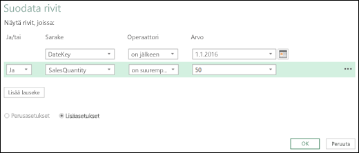Excelin Power BI Laajennettu suodata rivit -valintaikkuna Kyselyeditorissa