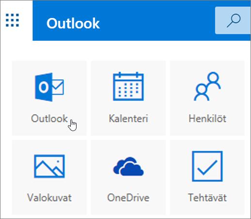 Näyttökuva, jossa näkyy Outlook-ruutu valittuna.