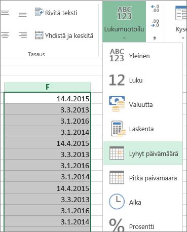 Tietojen muuttaminen lyhyeen päivämäärämuotoon valintanauhan avulla