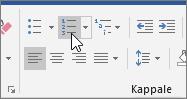 Luettelomerkit ja numerointi-painikkeet, valitse aloitus-välilehdessä