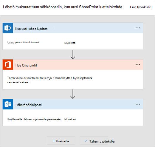 Noudata muodostaa kulun Microsoft Flow-sivustossa