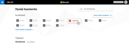Office 365 -aloitussivu, jossa PowerPoint-sovellus on korostettu