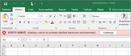Jos yrität avata tiedoston epäilyttävästä sijainnista, Office estää makrot.