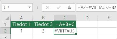Sarakkeen poistamisesta johtuva #VIITTAUS!-virhe  Kaava on muuttunut muotoon =A2+#VIITTAUS!+B2