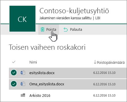 SharePoint Onlinen toisen tason roskakori poistopainike korostettuna