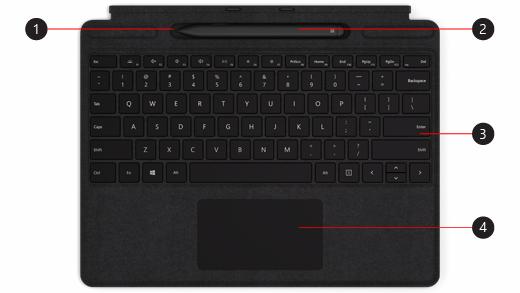 Surface Pro X Signature -näppäimistö ja Slim-kynä