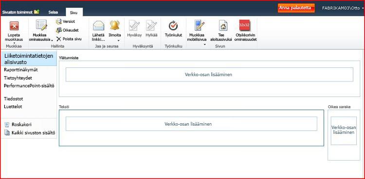 WWW-osien sivu sisältää vyöhykkeitä, joissa lisätään WWW-osia