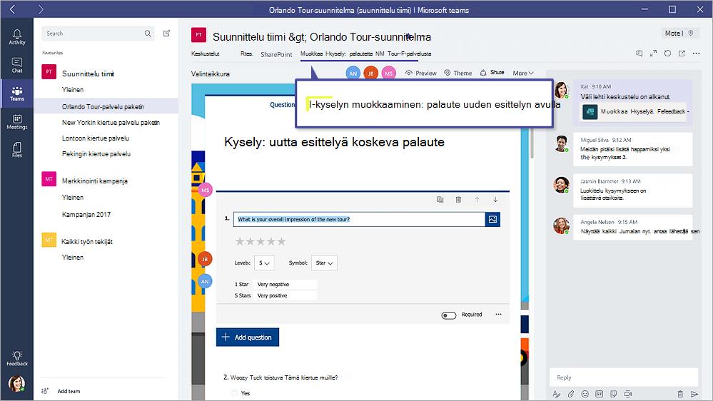 """Microsoftin Teams, jossa näkyy lomakkeen """""""" muokkaustilassa lomakkeet-välilehti"""