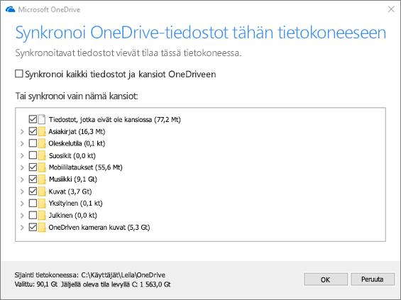 Näyttökuva Synkronoi OneDrive-tiedostot tähän tietokoneeseen -valintaikkunasta.