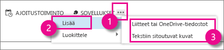 Outlook Web Appin Lisää toimintoja -painike