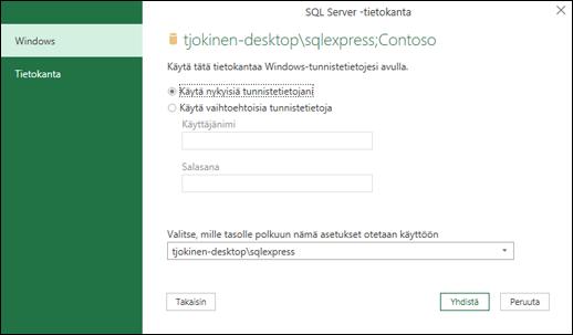 Power Queryn SQL Server -yhteyden tunnistetiedot
