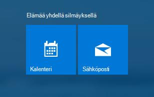 Kalenteri- ja Sähköposti-sovellus aloitusnäytössä