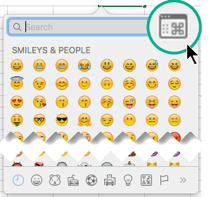 Symboli-valinta ikkuna voidaan kytkeä suuremmaksi näkymään, jossa näkyy useita erityyppisiä merkkejä, ei vain emojiä
