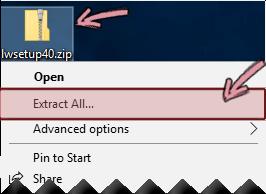 Pura tiedosto pakatusta zip-tiedostosta napsauttamalla zip-tiedostoa hiiren kakkospainikkeella.