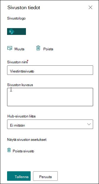 SharePoint-sivuston tietoruutu