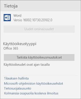 Tietoja Word Mobile -ikkunasta