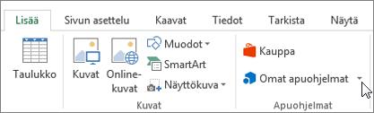 Näyttökuva Lisää-välilehdessä Excel-nauha, jossa Lisää oma poistamalla osoitin osan valitsemalla Omat apuohjelmat, voit käyttää Excel-apuohjelmat.