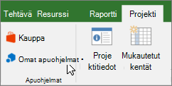 Näyttökuva, jossa osoitin valintanauhan Projekti-välilehden osa Omat apuohjelmat avattavasta. Valitse Omat apuohjelmat, valitse viimeksi käytetyt apuohjelma, kaikki apuohjelmien hallinta tai uusi apuohjelmia Office-kauppa.