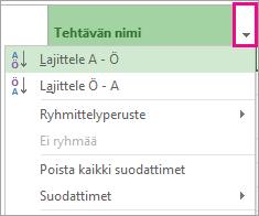 Kuva: Tehtävän nimi -valikko, jossa Lajittele A - Ö on valittuna