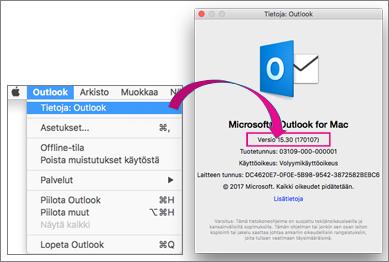Löydät version valitsemalla Outlook ja Tietoja Outlookista