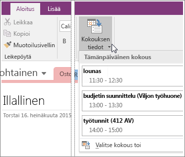 Screenshot of the Meeting Details button in OneNote 2016.