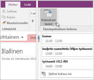 Näyttökuva Kokoustiedot-painikkeesta OneNote 2016:ssa.