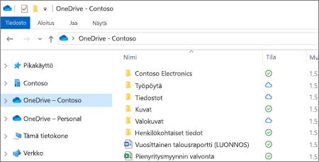 Näyttökuva OneDrive for Business -tiedostojen käytöstä Resurssienhallinnassa