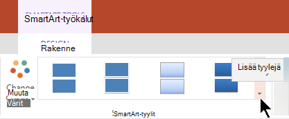 Valitse SmartArt-työkalujen Lisää tyylejä-nuoli, joka avaa SmartArt-tyylit-valikoima