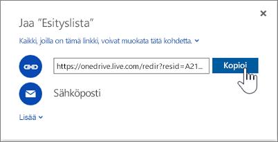 Näyttökuva Jaa-valintaikkunan Hae linkki -asetuksesta OneDrivessa
