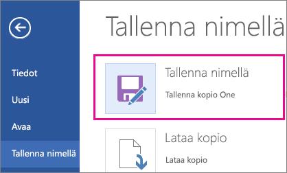 Kopion tallentaminen OneDriveen