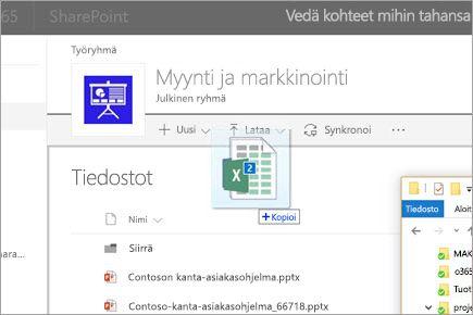 Tiedoston vetäminen SharePoint-tiedostokirjastoon